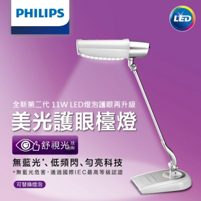 【PHILIPS飛利浦】第二代美光廣角護眼LED檯燈FDS980W-白色