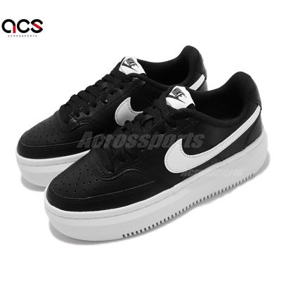 Nike 休閒鞋 Court Vision ALT 女鞋 厚底 增高 舒適 穿搭 皮革 質感 黑 白 DM0113-002