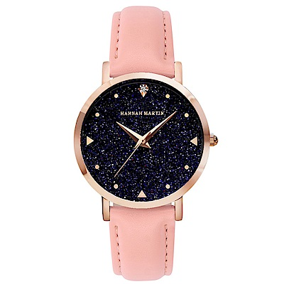 HANNAH MARTIN 璀璨星空皮帶腕錶-粉紅帶x36mm(HM-XK36-FF)