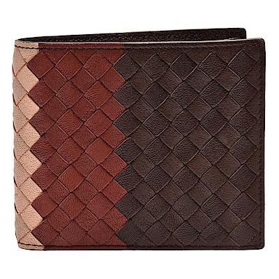 BOTTEGA VENETA 經典多彩皮革編織小羊皮中性短夾(碳紅)