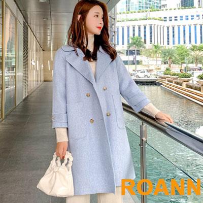 簡約純色雙排釦寬鬆毛呢外套 (共二色)-ROANN