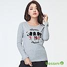 bossini女裝-印花長袖T恤01淺灰