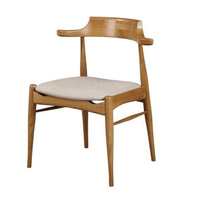 【AT HOME】日式簡約風栓木實木耐磨貓抓皮單人餐椅/休閒椅-梅長蘇