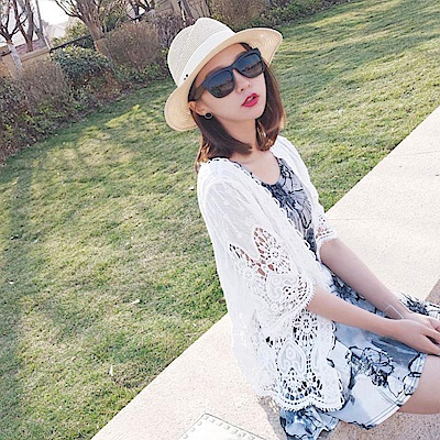 La Belleza白色繡花鉤織滾邊棉麻鏤空五分袖蕾絲開衫外套