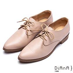 DIANA英倫時尚質感素雅綁帶休閒鞋-漫步雲端厚切焦糖美人-米