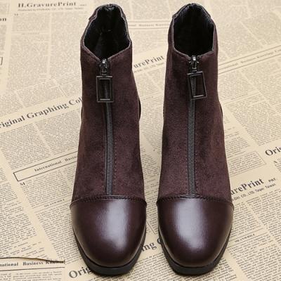KEITH-WILL時尚鞋館-冬氛漾彩透氣金屬中筒襪靴-棕色