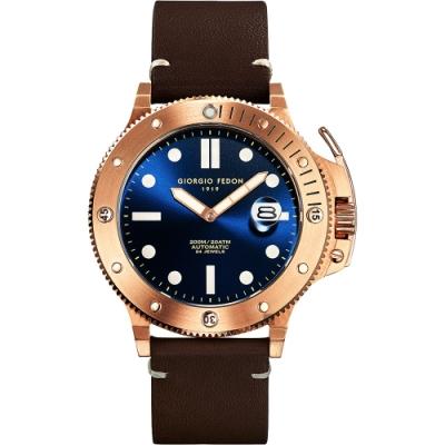 GIORGIO FEDON 1919 海藍寶石系列機械錶(GFCL005)-藍x玫塊金框
