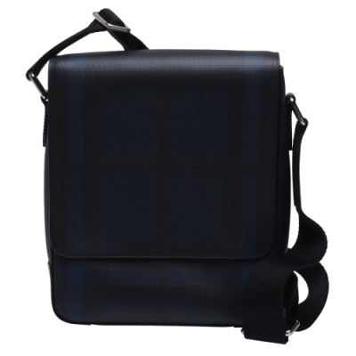 BURBERRY 經典GREENFORD系列煙燻格紋PVC皮革飾邊掀蓋斜背包(藍)