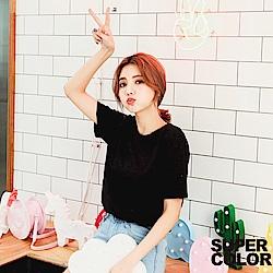SUPER COLOR 簡單基本純色竹節棉上衣-(時尚黑)