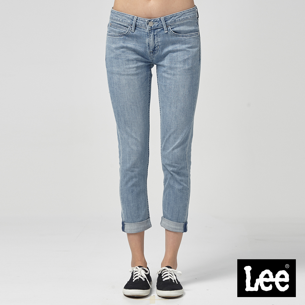 Lee 低腰合身窄管七分牛仔褲淺藍洗水