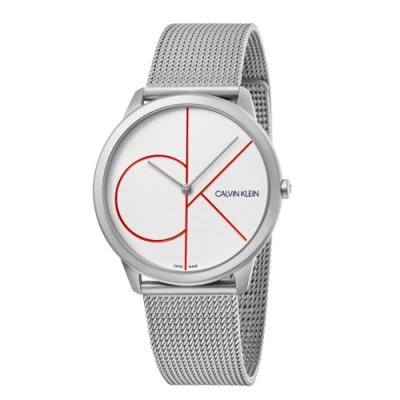CALVIN KLEIN minimal 系列簡約腕錶-白/40mm
