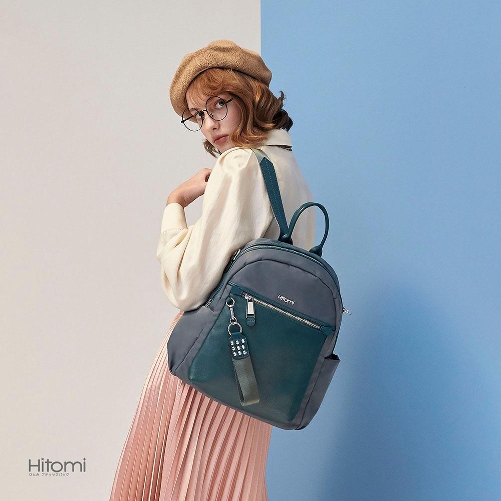 【Hitomi】個性鉚釘兩用多隔層後背包(愜意綠32109GN)
