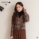 東京著衣 復古經典配色格紋公主袖磨毛外套/上衣
