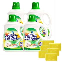 【妙管家】強效洗衣精(柔軟護纖)2800g(4入)+植萃洗衣皂220g(6入)