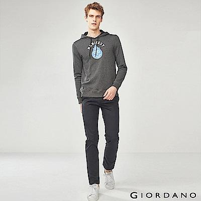 GIORDANO 男裝修身基本款彈力休閒長褲-09 標誌黑