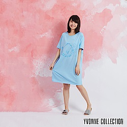 YVONNE 泡泡魚短袖洋裝-淺藍