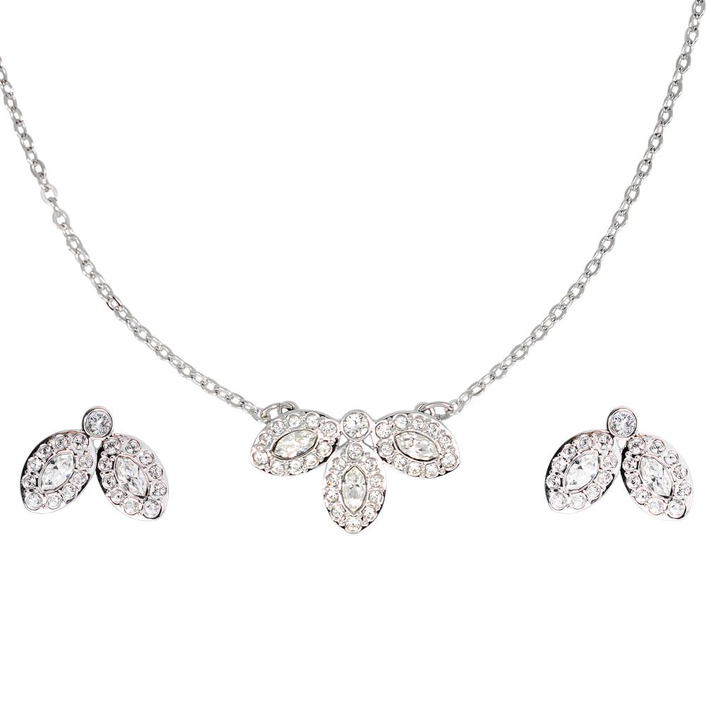SWAROVSKI 施華洛世奇 BARON花朵造型水晶銀色項鍊+耳環組合