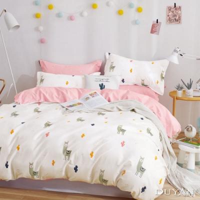 DUYAN竹漾-100%精梳純棉-單人三件式舖棉兩用被床包組-羊駝先生你好 台灣製
