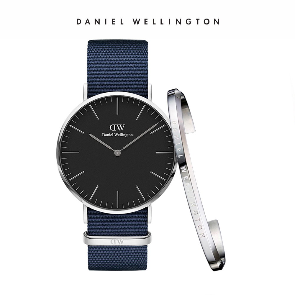 DW 禮盒 官方旗艦店 40mm銀框黑面星空藍織紋錶+時尚奢華手鐲 簡約銀-L