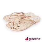 Grendha 歐洲小花園人字帶夾腳鞋-米白