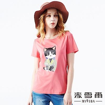 【麥雪爾】純棉素色貴族貓咪印花上衣-桃紅