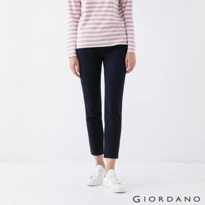 GIORDANO  女裝腰頭半鬆緊純棉卡其褲 - 66 標誌海軍藍