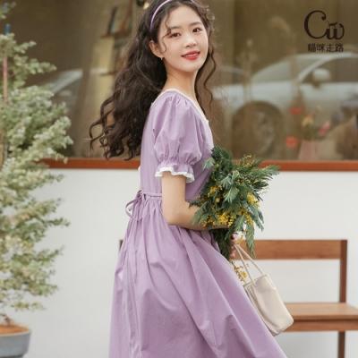 [CW.貓咪走路]韓版氣質方領拼接蕾絲泡泡袖洋裝(KDD-10917)
