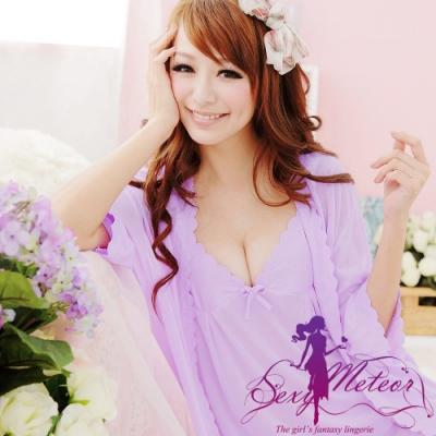 睡衣 洞花冰絲V領細肩帶裙+睡袍二件式睡衣組(浪漫紫) Sexy Meteor