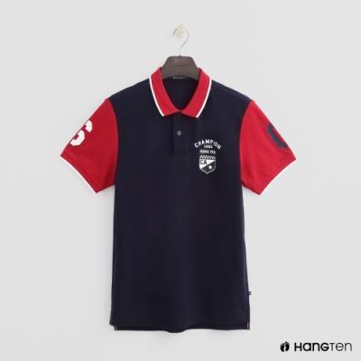 Hang Ten - 男裝 - 數字logo撞色款POLO衫 - 深藍