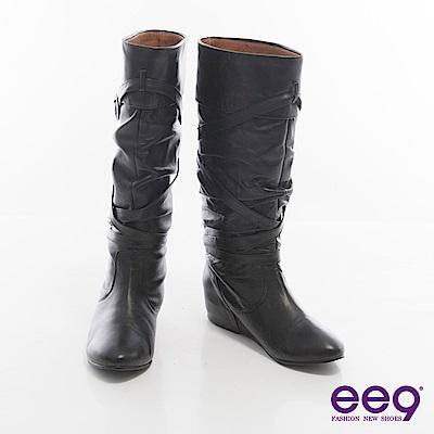 ee9時尚心機~自然抓皺交叉皮帶扣環內增高高筒靴~黑色