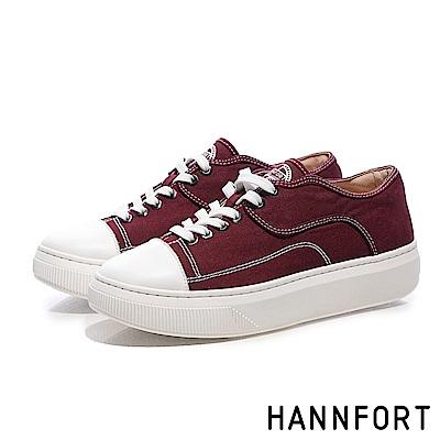 HANNFORT CAMPUS PLATFORM復古車線帆布厚底休閒鞋-女-紅