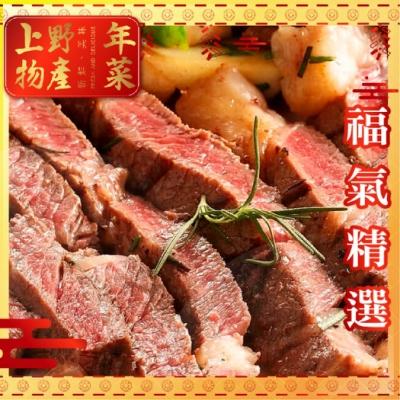 (滿額優惠)上野物產-美國安格斯比臉大雪花沙朗牛 x10片組(450g土10%/片)