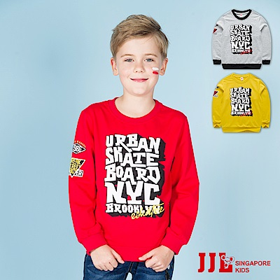 JJLKIDS 英文大字印花純棉長袖T恤(3色)