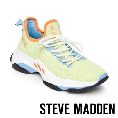 STEVE MADDEN-MAC 亮彩撞色綁帶彈性襪套式休閒球鞋-特殊紋綠色