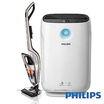 (超值組)飛利浦2合1無線直立式吸塵器FC6168+AC2889智能抗敏空氣清淨機