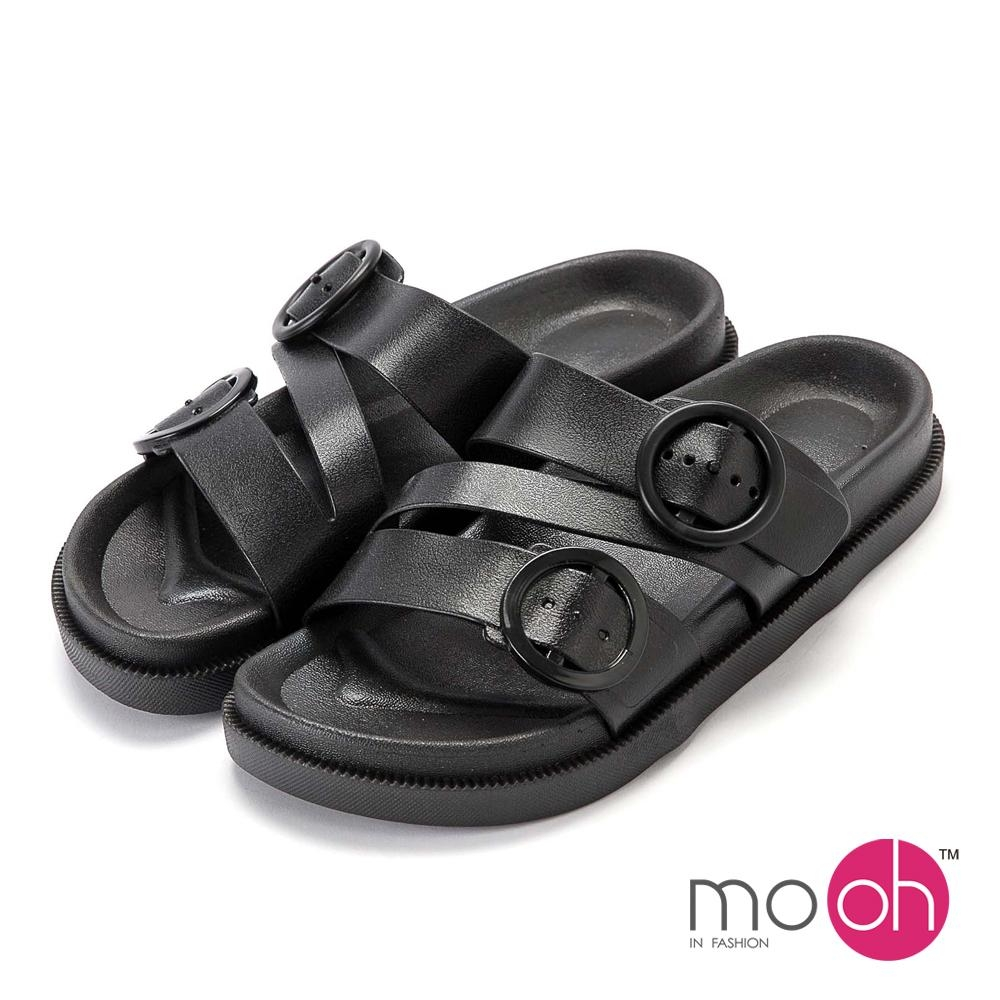 mo.oh-柔軟圓扣防水沙灘厚底拖鞋-黑色