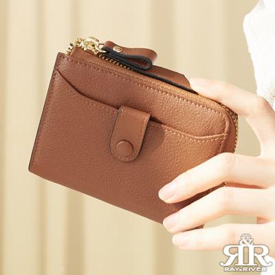 2R 頭層牛皮 luxury 手感拉鍊短夾 焦糖棕