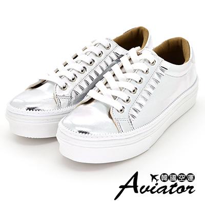 Aviator*韓國空運-正韓製荷葉壓摺花邊厚底綁帶休閒鞋皮革小白鞋-銀