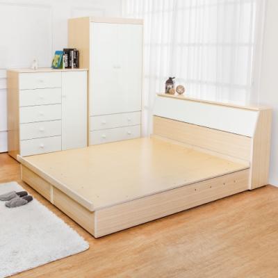 Birdie南亞塑鋼-5尺雙人塑鋼床組(床頭箱+掀床底)(白橡色+白色)