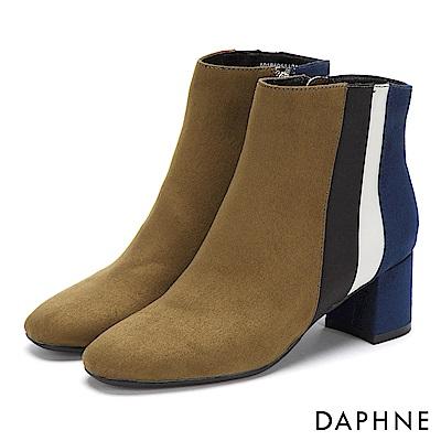達芙妮DAPHNE 短靴-異材質撞色拼接方頭粗跟短靴-橄欖綠