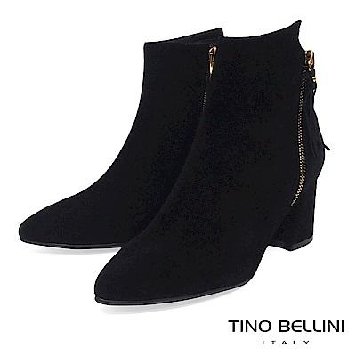Tino Bellini 不對稱造型鞋口雙拉鍊中跟短靴 _ 黑