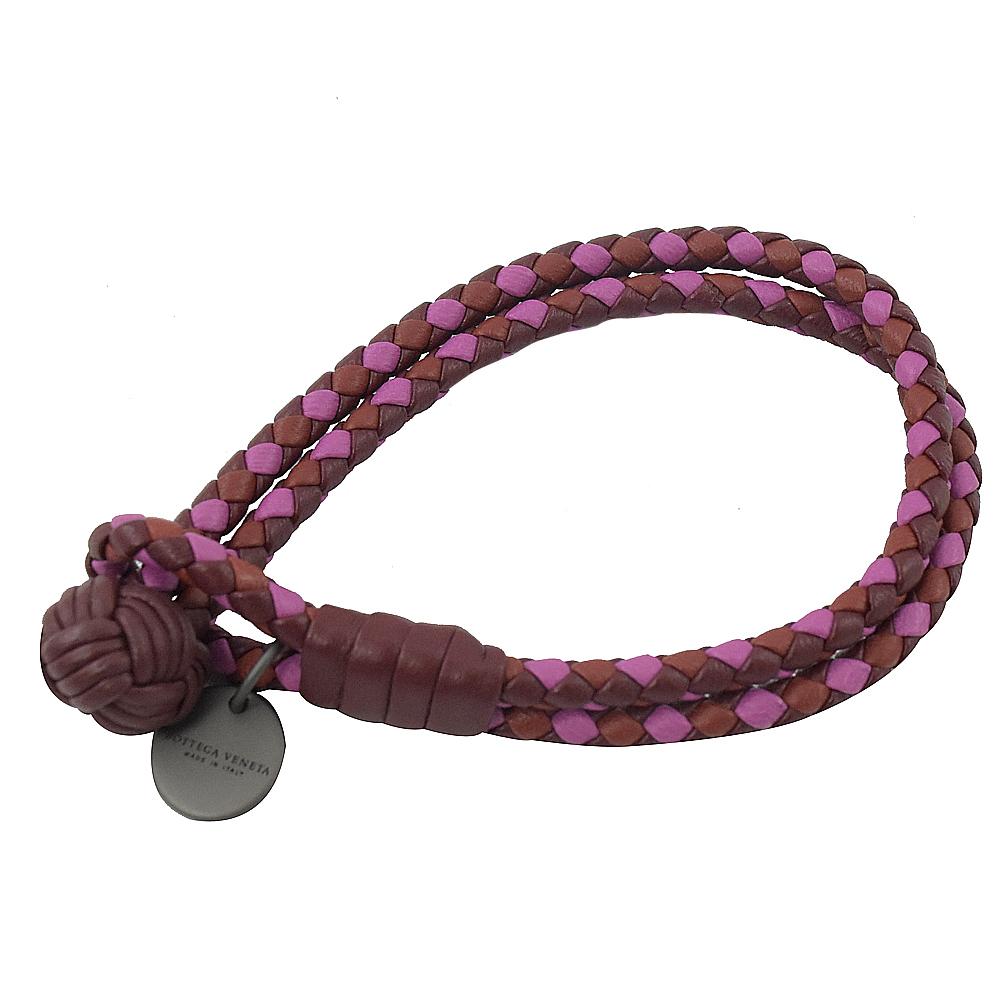 BOTTEGA VENETA拼色經典編織雙圈皮革手環(紫紅/桃)