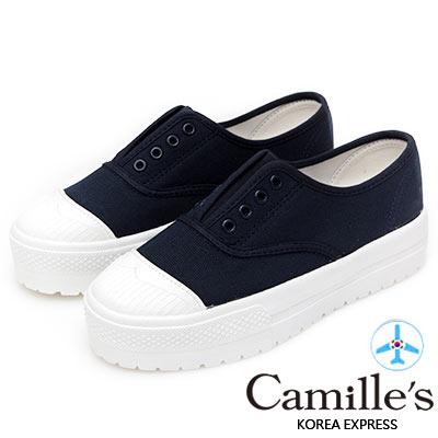 Camille's 韓國空運-正韓製-丹寧8孔免綁帶厚底休閒鞋-深藍色