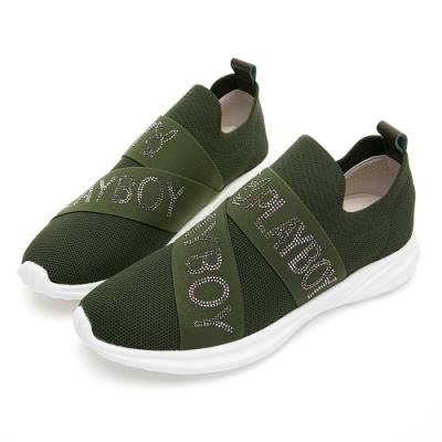 PLAYBOY 品牌水鑽襪套式休閒鞋-綠-Y5755DD