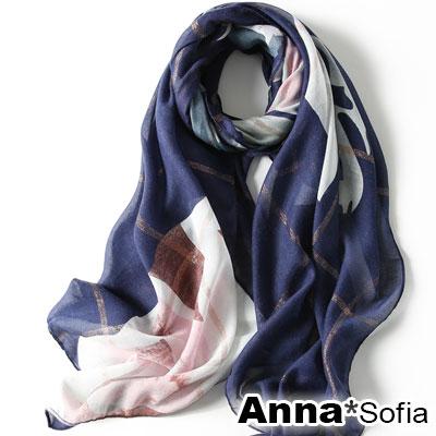 AnnaSofia 嵐卉金絲格 柔軟披肩圍巾(藏藍系)