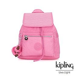 Kipling 甜美糖果粉翻蓋束口後背包-NEW ELLA