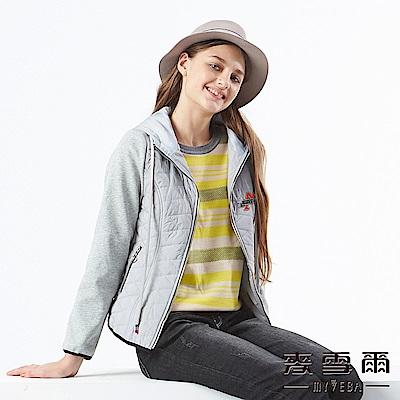 【麥雪爾】字母刺繡異材質拼接連帽外套-灰