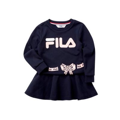 FILA KIDS 女童針織洋裝-丈青 5DRT-8448-NV