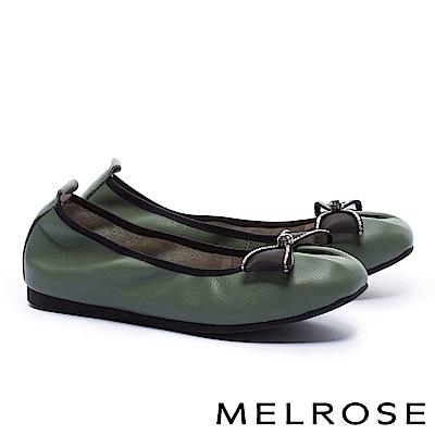 娃娃鞋 MELROSE 氣質甜美水鑽蝴蝶結網紗全真皮娃娃鞋-綠