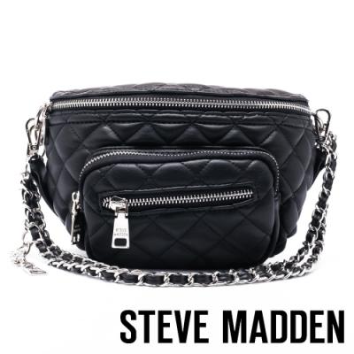 STEVE MADDEN-BSUBMIT 低調內斂金屬鍊條菱格母子個性腰包-黑色